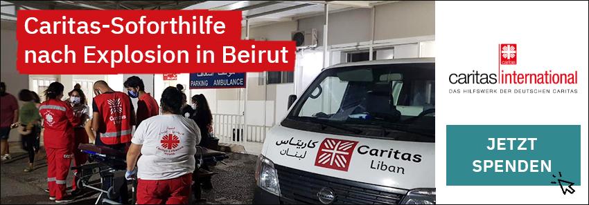 Gemeinsame Caritas-Soforthilfe nach Explosion in Beirut